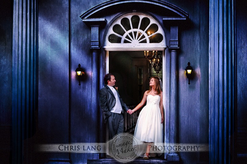 Picture of Bride & Groom in front of wedding chapel at Orton Plantion