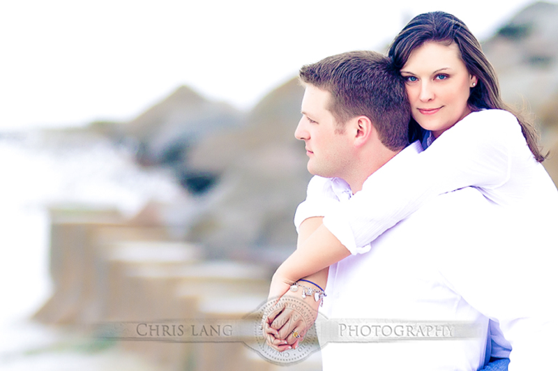Picture of engaged couple at Fort Fisher